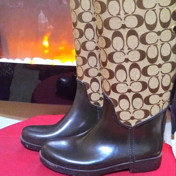 Brown Coach Tristee Signature Lace Up Rain Boots